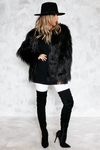 Faux Fur Long Hair Jacket - Black