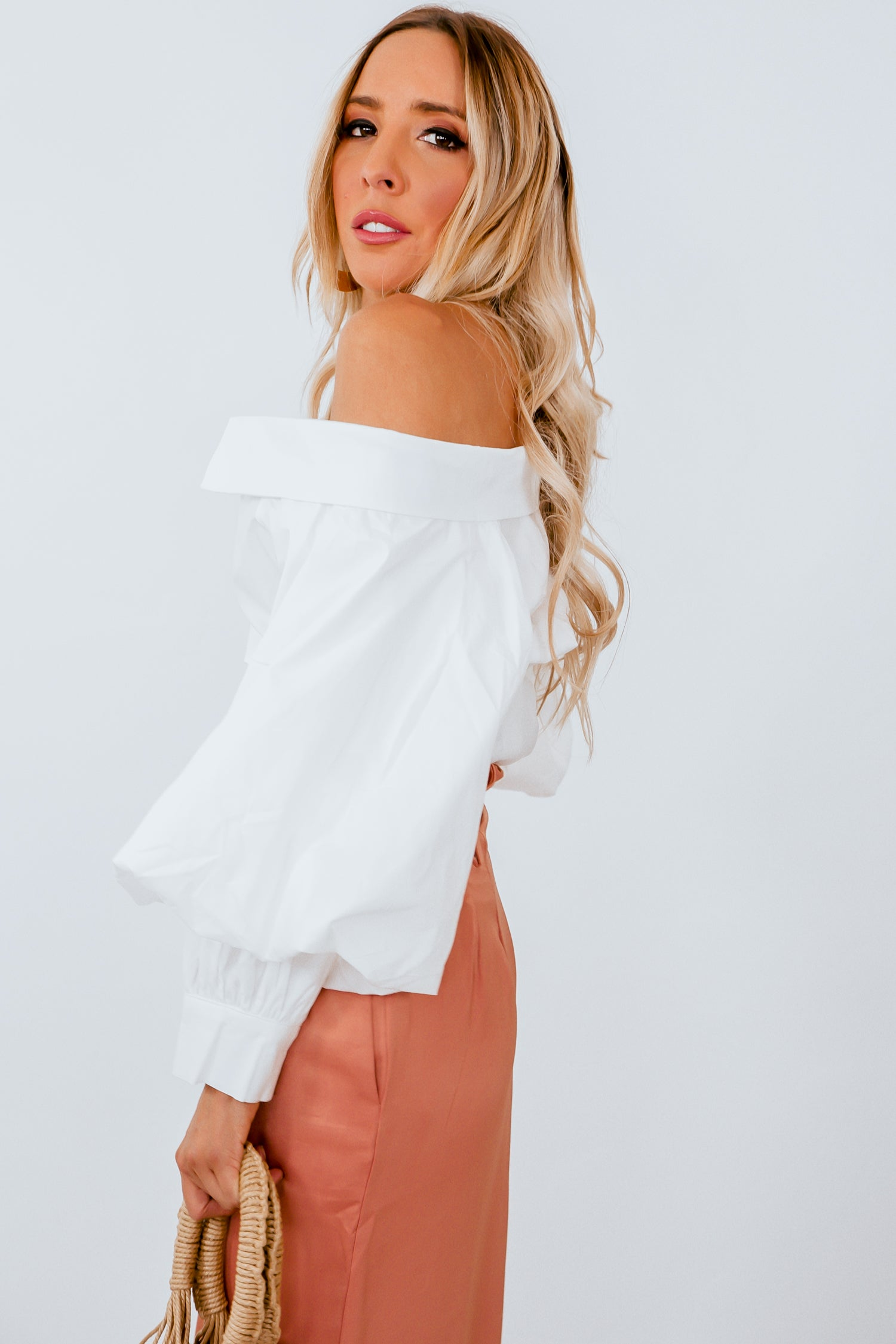 c6bc3138a7b04e Off-Shoulder Blouse with Puff Sleeve