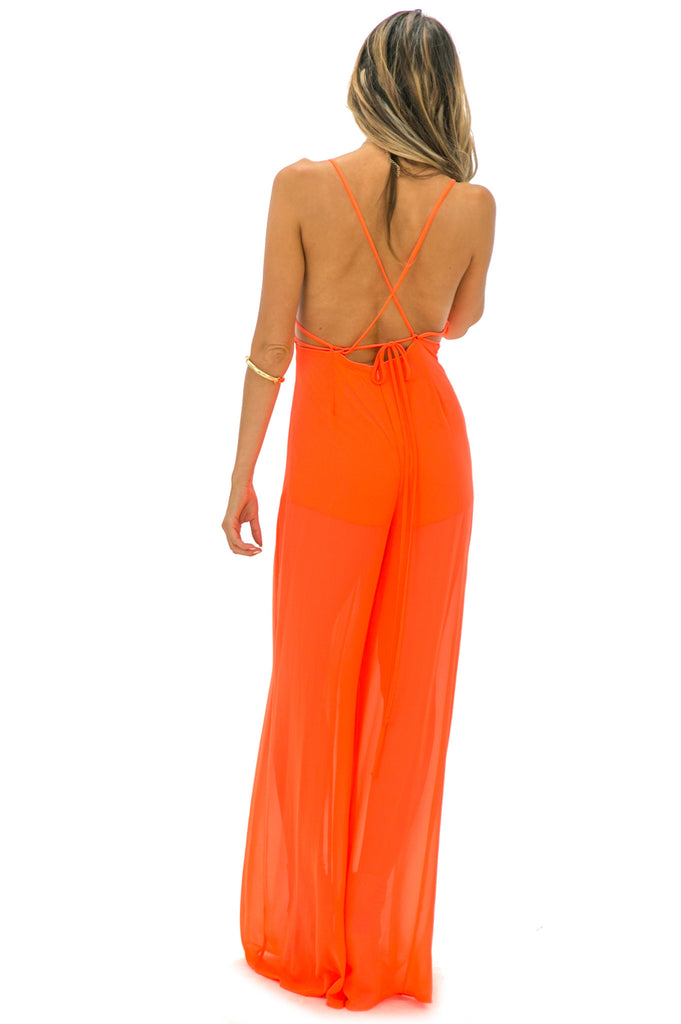 STELLA OPEN BACK JUMPSUIT - NEON ORANGE