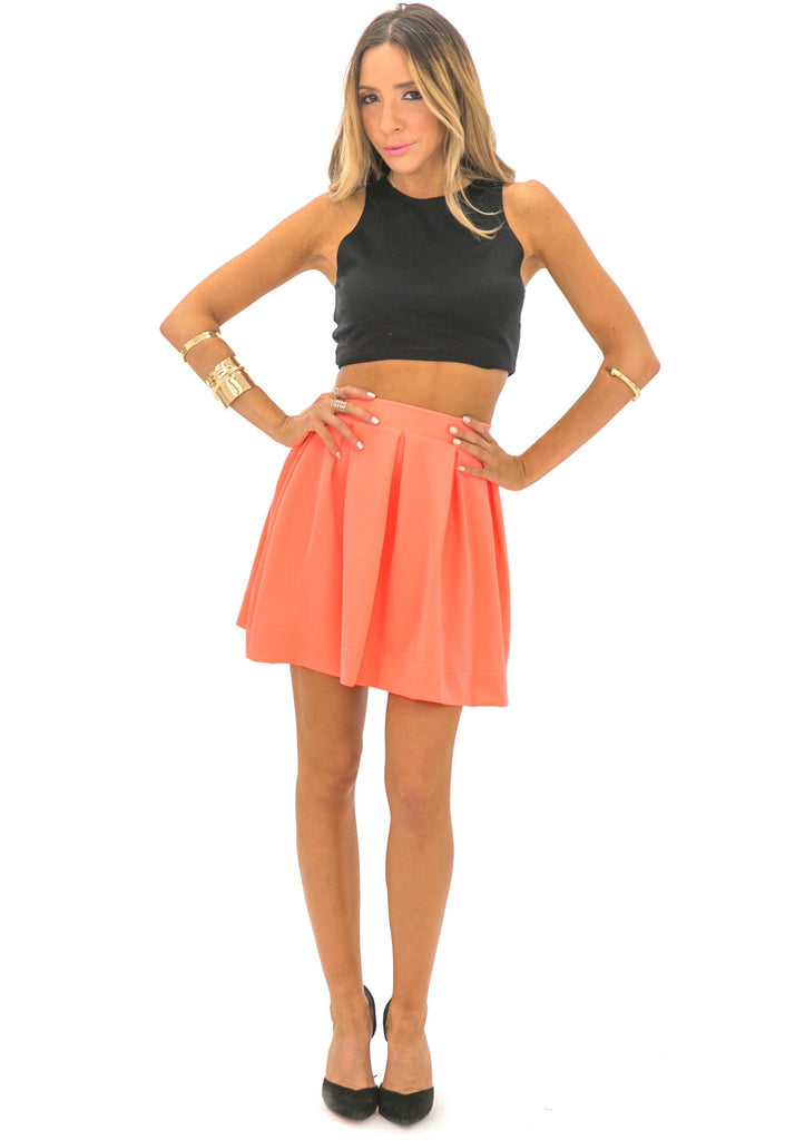 LESLEE NEON SCUBA SKIRT - CORAL