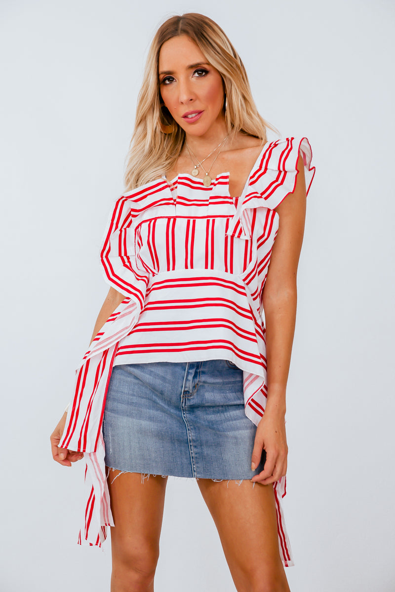 Striped Blouse with Tie Detail