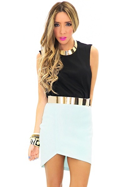 ASYMMETRICAL SCUBA MINI SKIRT - Mint