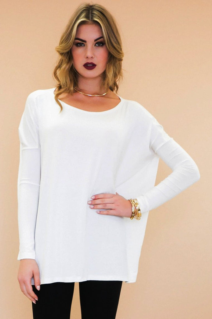 Emma Basic Long Sleeve Tee - White - Haute & Rebellious