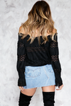 Lace Detail Off Shoulder Top - Black