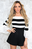 Good Decisions Striped Ruffle Sleeve Top - Haute & Rebellious