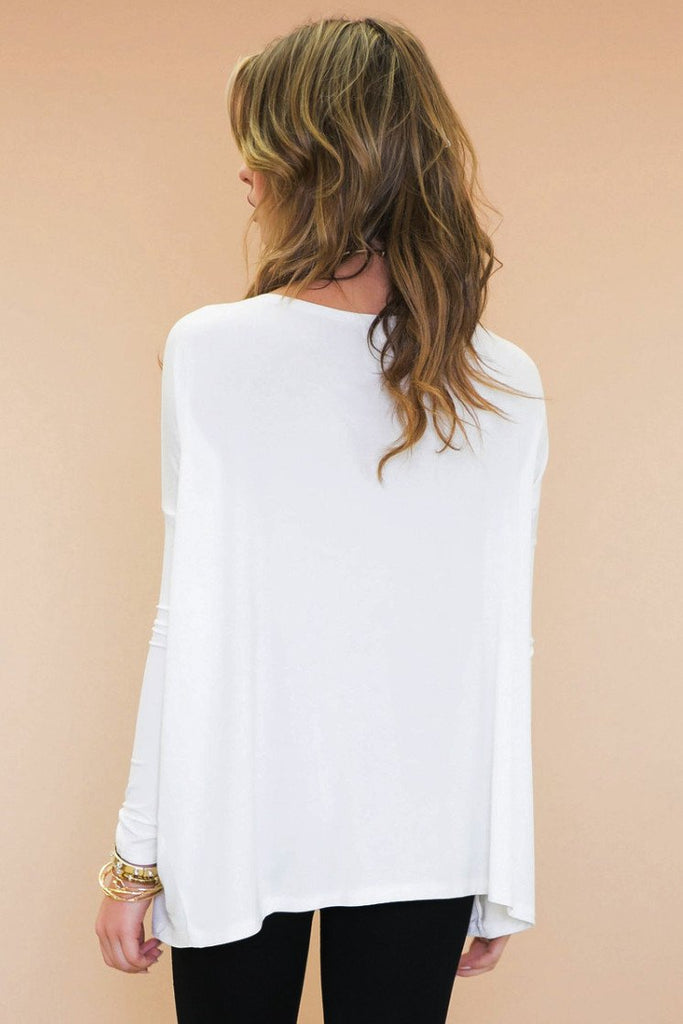 Emma Basic Long Sleeve Tee - White