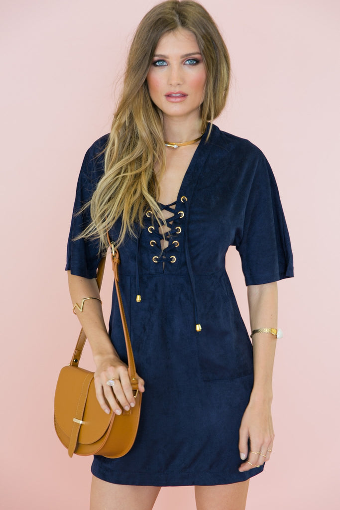 Amia Lace-Up Suede Dress