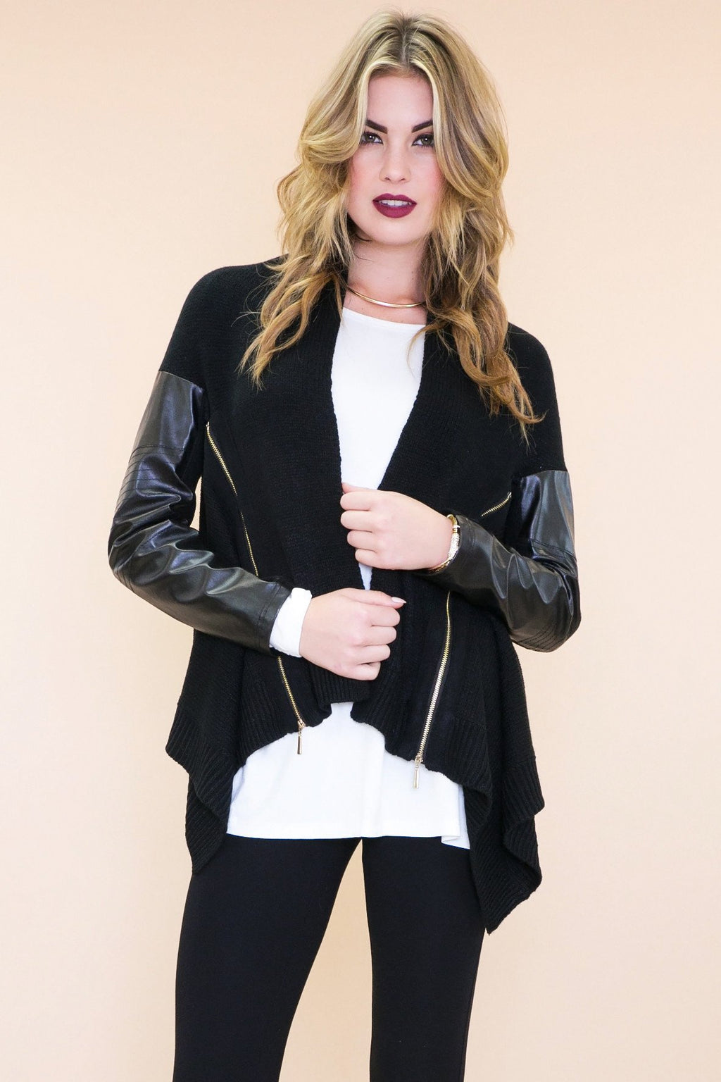 Emon Leather Sleeve Sweater Jacket - Haute & Rebellious