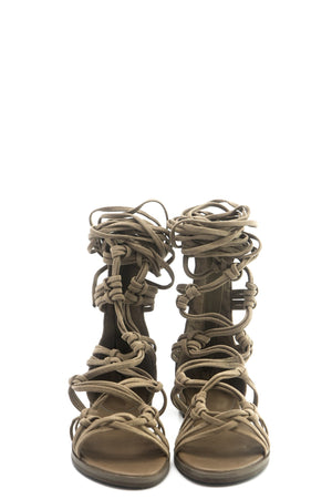 Lesly Lace-Up Gladiator Sandal - Beige - Haute & Rebellious