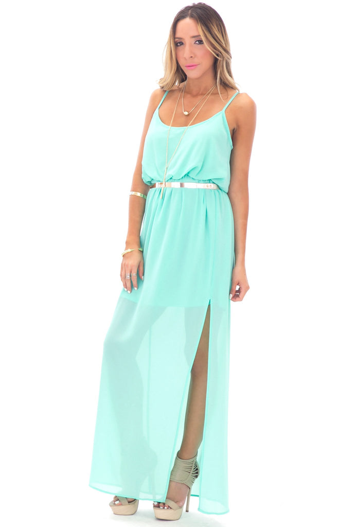 ALLISON CROSS BACK CHIFFON MAXI - MINT
