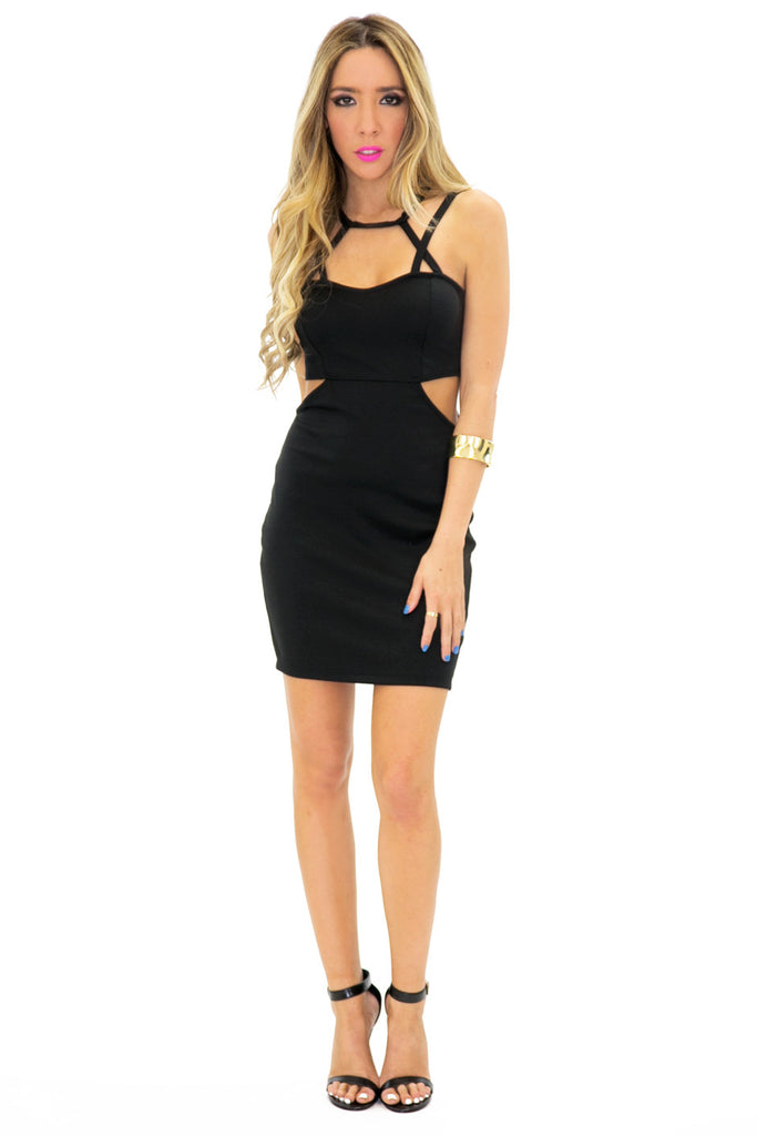 OLIVIA CUTOUT SIDE STRAPPY DRESS
