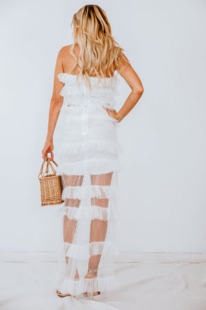 Ruffle Detail Sheer Skirt & Top Set
