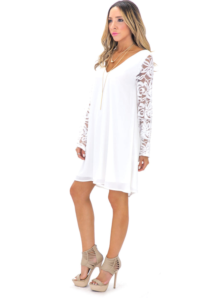 WILLOW LACE BELL SLEEVE DRESS - WHITE