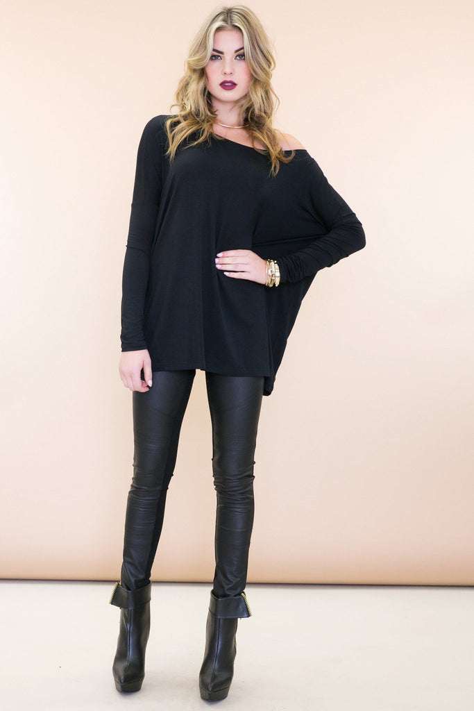 Emma Basic Long Sleeve Tee - Black
