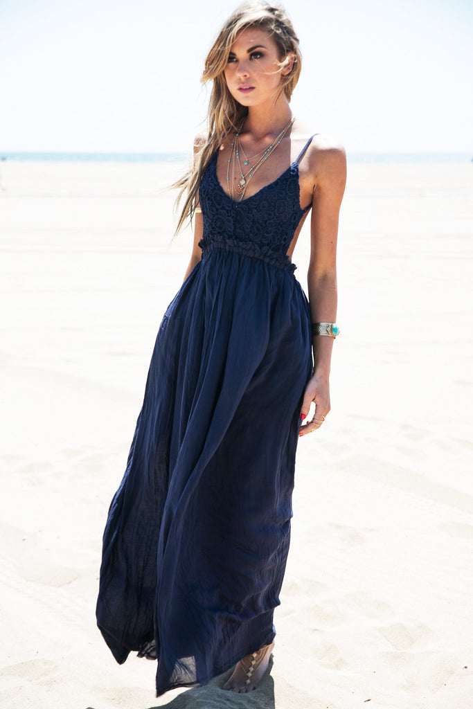 Camilla Open Back Crochet Maxi - Navy
