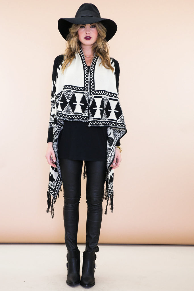 Maha Fringe Tribal Cardigan Sweater