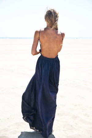 Camilla Open Back Crochet Maxi - Navy - Haute & Rebellious