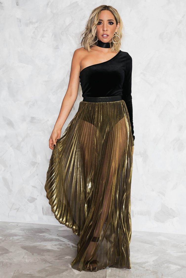 Metallic Gold Pleated Long Skirt - Haute & Rebellious