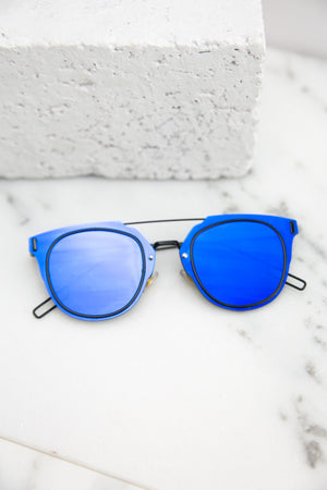 I Told You So Reflective Sunglasses - Blue - Haute & Rebellious