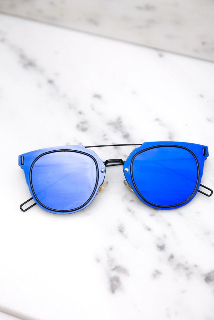 I Told You So Reflective Sunglasses - Blue