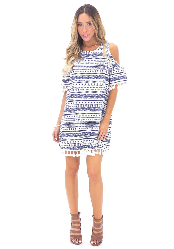 CARMEN SHOULDER CUT FRINGE SHIFT DRESS