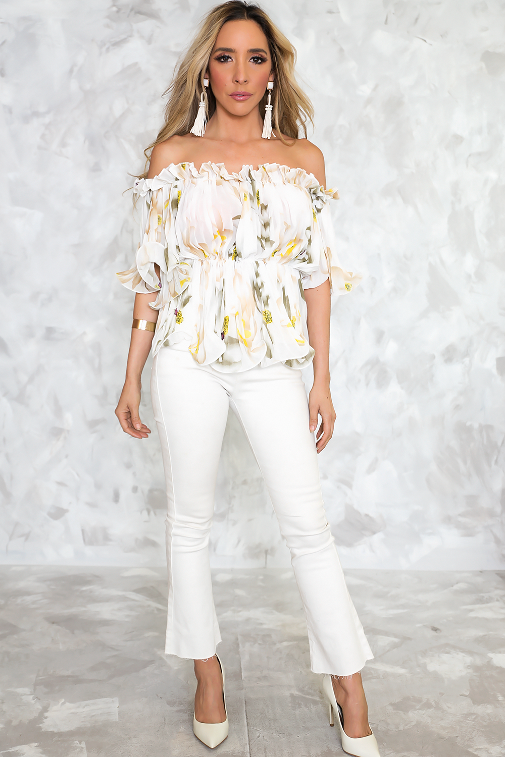 With You Floral Ruffle Off-Shoulder Top– Haute & Rebellious