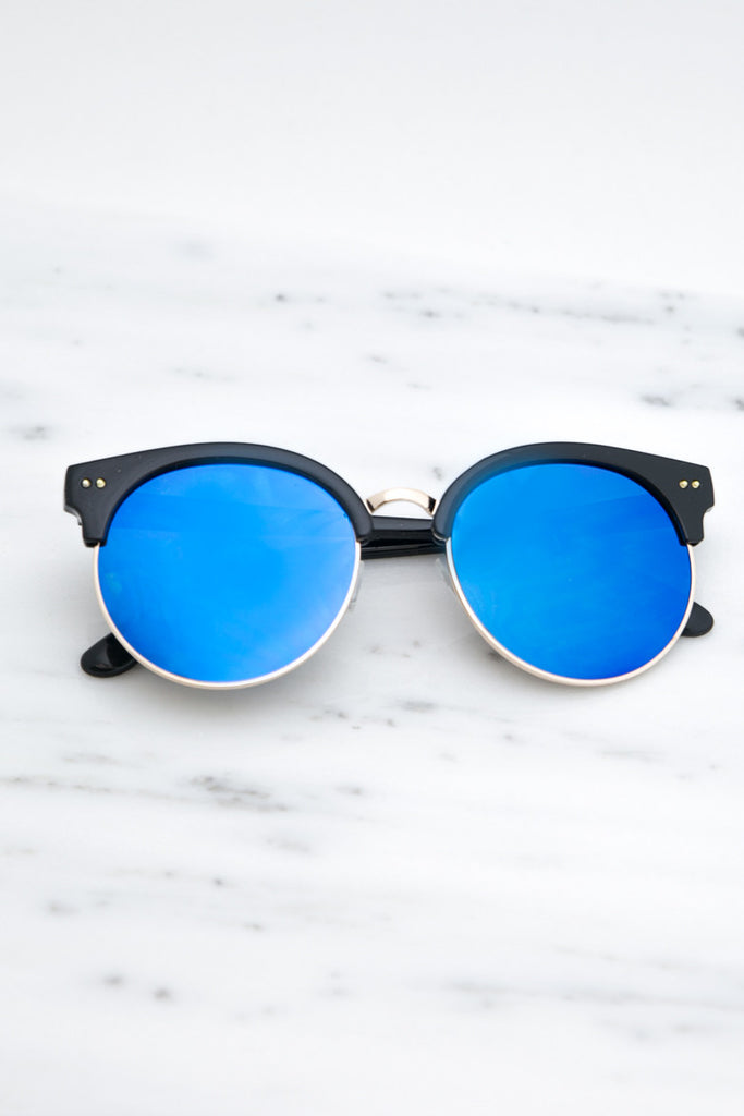 Road Ahead Reflective Sunglasses - Blue - Haute & Rebellious