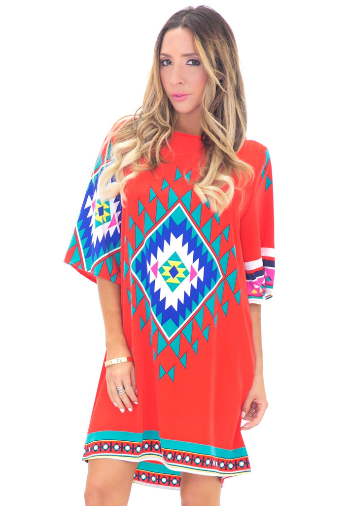 MELIA AZTEC PRINT SHIFT DRESS