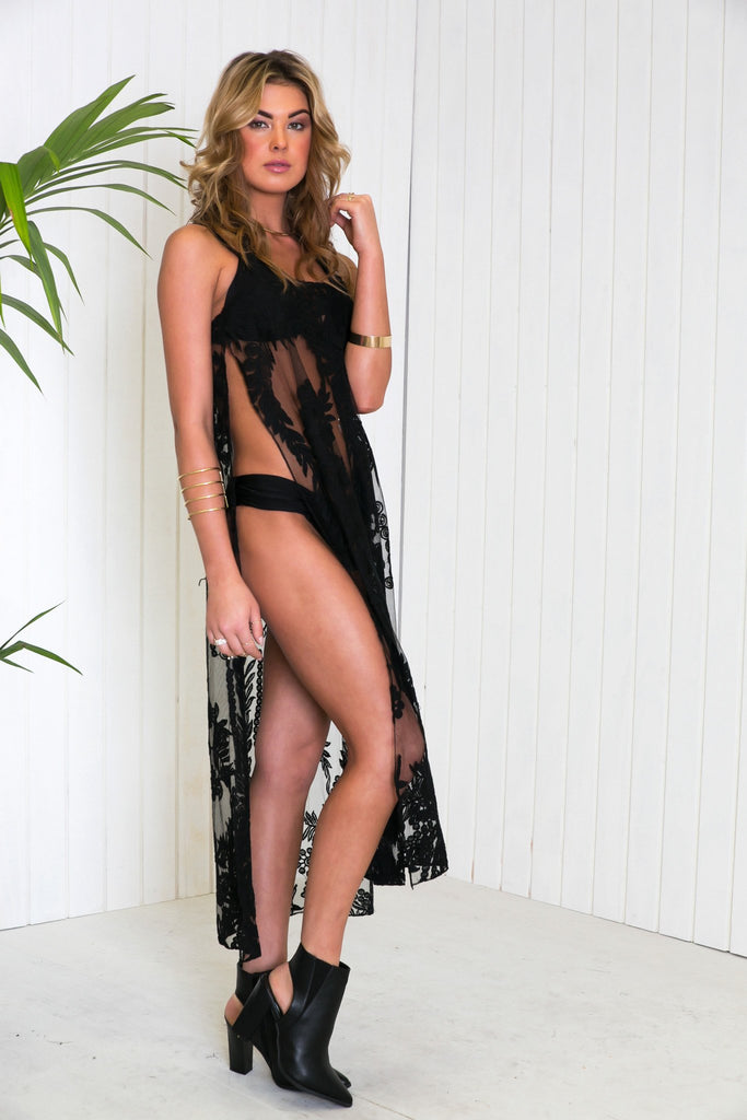 Maya Side-Slit Lace Dress - Black