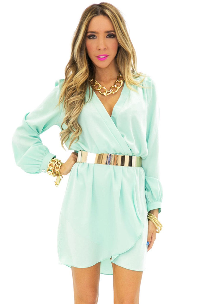 DRAPED V-NECK LONG SLEEVE DRESS - Mint