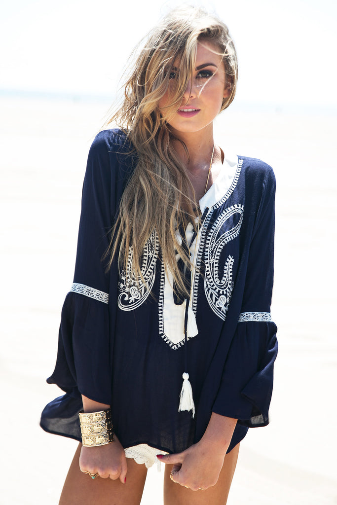 Sage Embroidered Tunic