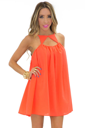 TRIANGLE FRONT DRESS - Coral - Haute & Rebellious