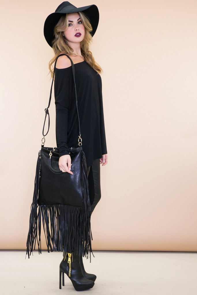 Ash Leather Fringe Tote Bag - Black