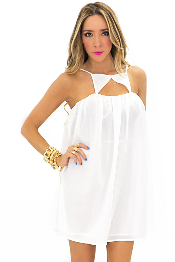 TRIANGLE FRONT DRESS - White