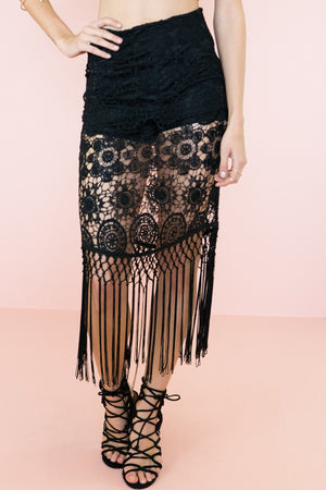 Nora Crochet Fringe Shorts - Black - Haute & Rebellious