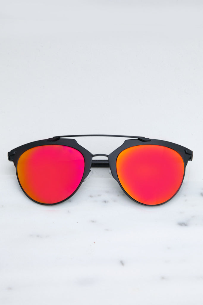 Skylar Reflective Sunglasses - Orange/Pink