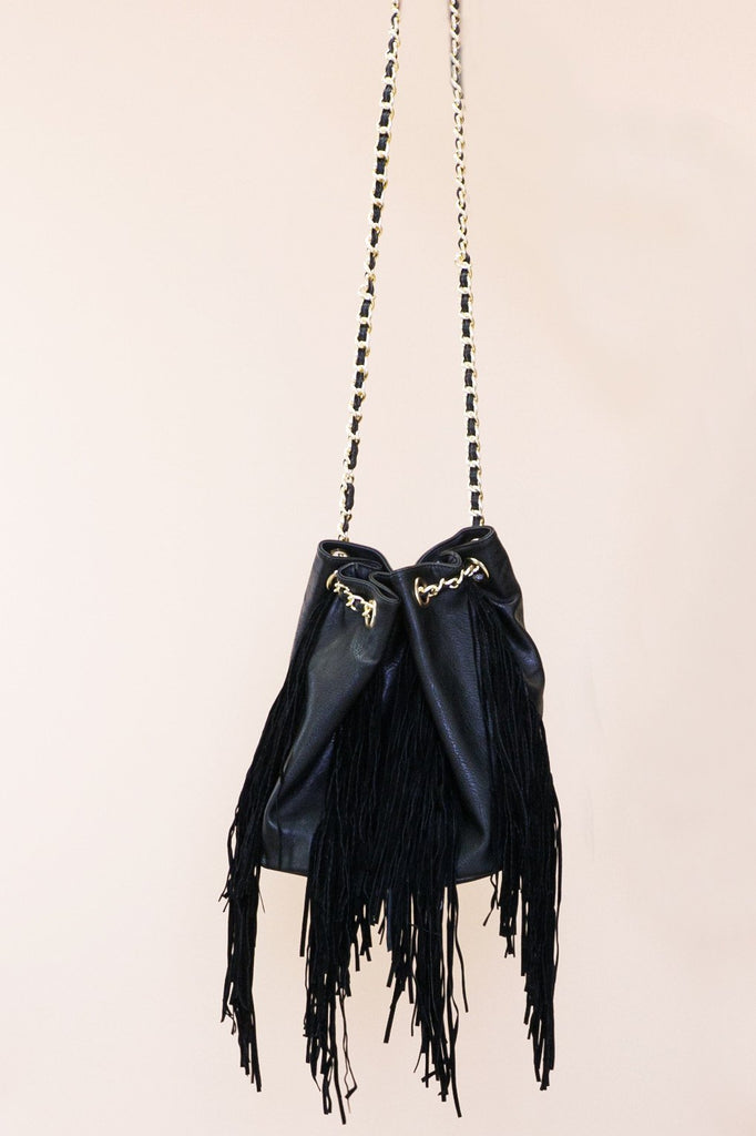 Leather Fringe Bucket Bag - Black