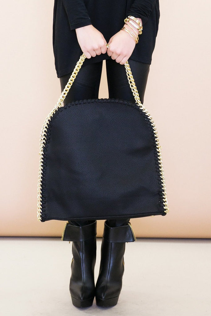 Large Shoulder Tote Bag - Black