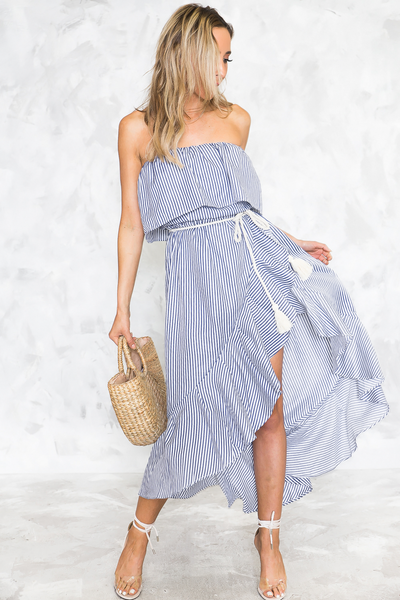 Real Love Striped Asymmetric Ruffle Midi Dress /// Only 1-M Left ///