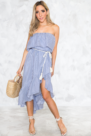 Real Love Striped Asymmetric Ruffle Midi Dress - Haute & Rebellious