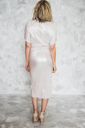 Sheen Goddess Metallic Midi Dress - Blush - Haute & Rebellious