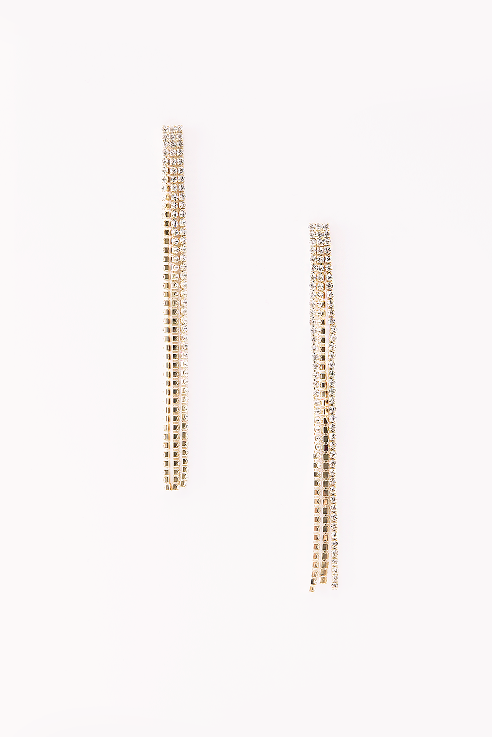 Long Crystal Earring - Gold