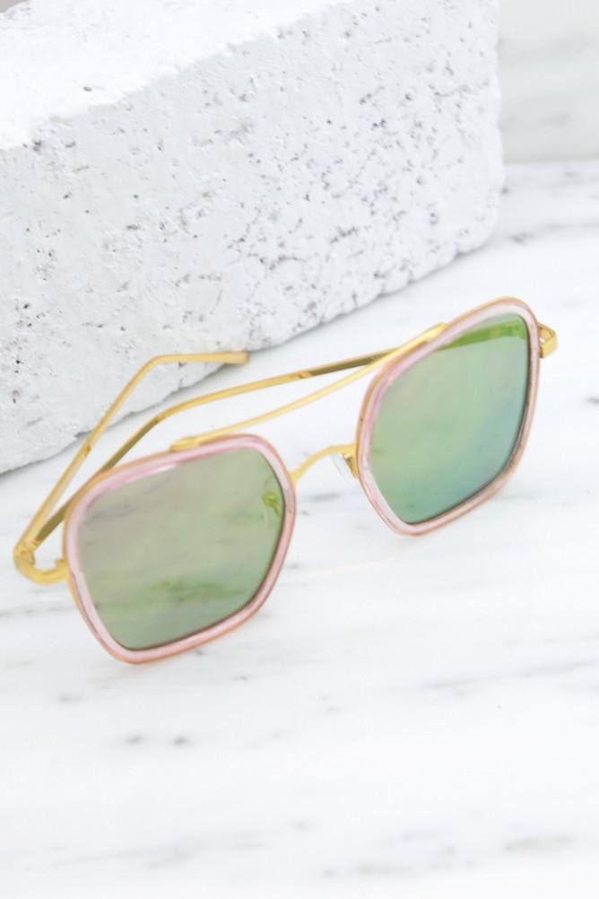 Harpers 70's Sunglasses - Gold/Pink