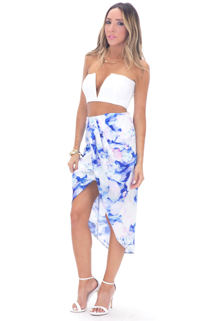 ISSA FLORAL WRAP SKIRT