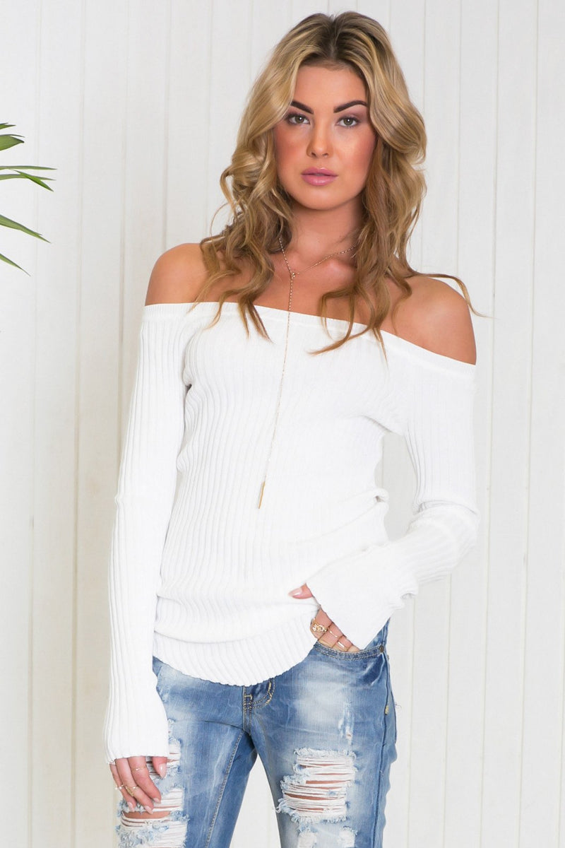 Emma Ribbed Off-Shoulder Tee - White - Haute & Rebellious