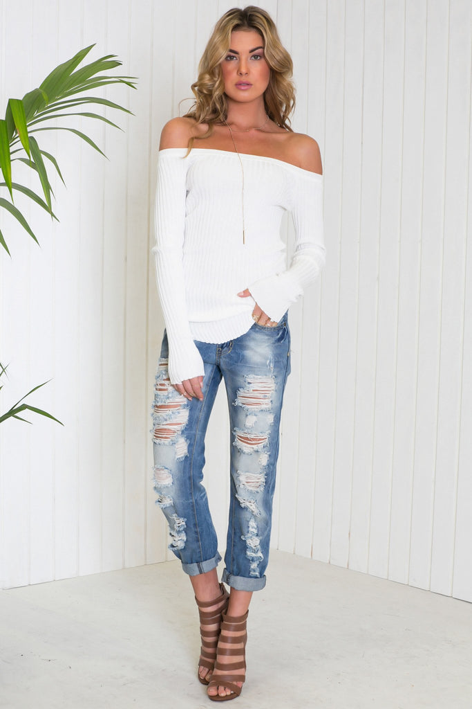 Emma Ribbed Off-Shoulder Tee - White