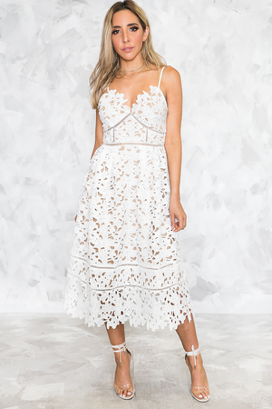 Weekend Getaway Lace Midi Dress - Haute & Rebellious
