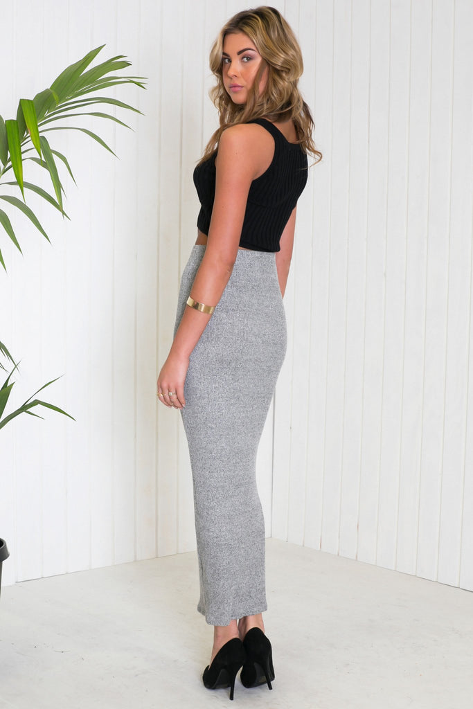 Lada Ribbed Stretch Maxi Skirt