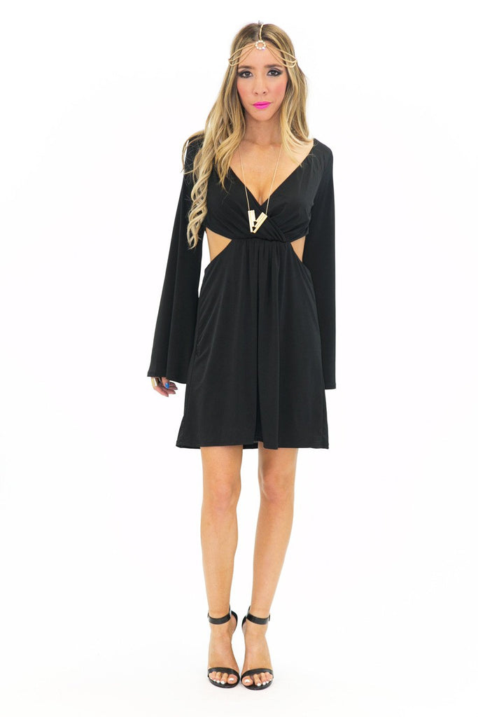BELL SLEEVE CUTOUT DRESS - Black