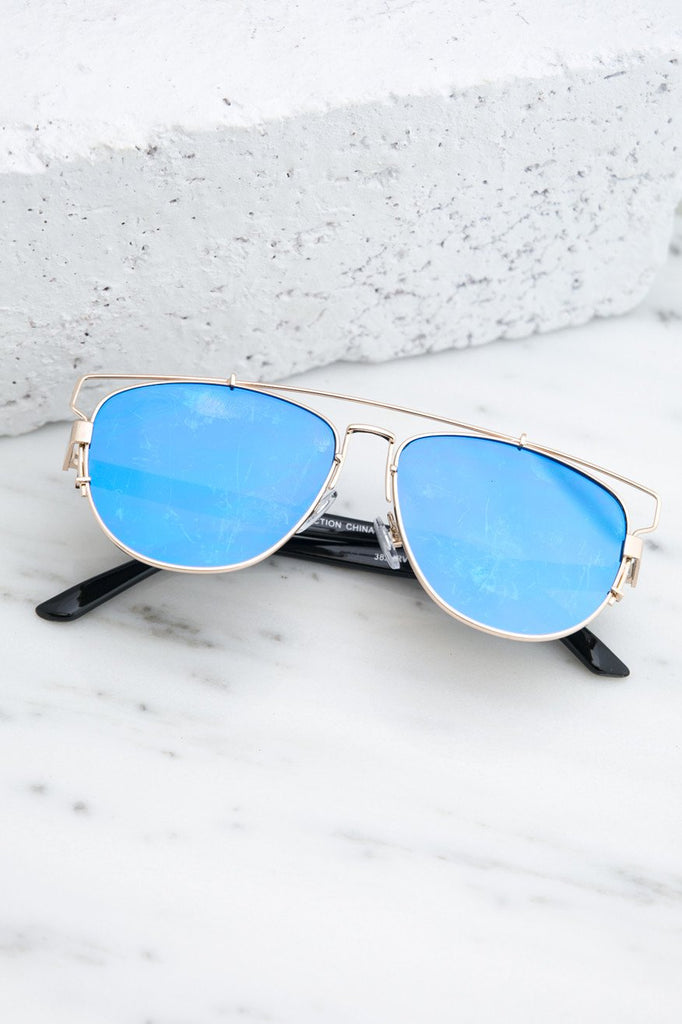 Amelia Reflective Aviators  - Blue